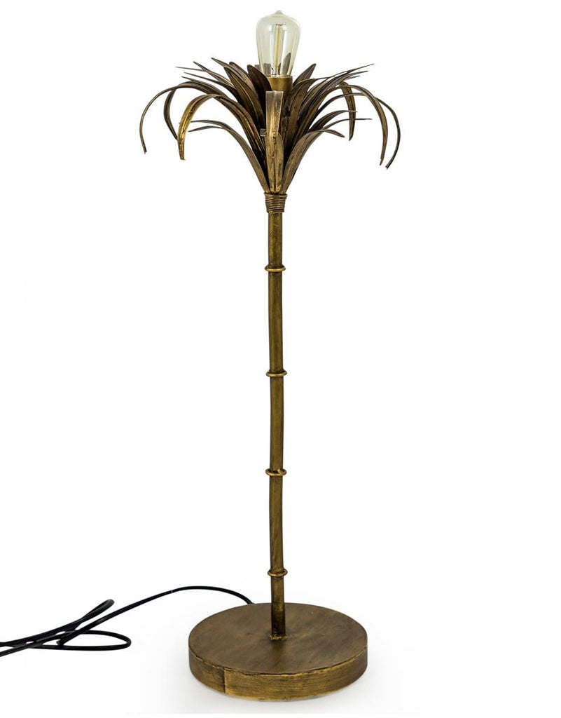 Antiqued Gold Iron Palm Tree Table Lamp - Table Lamp