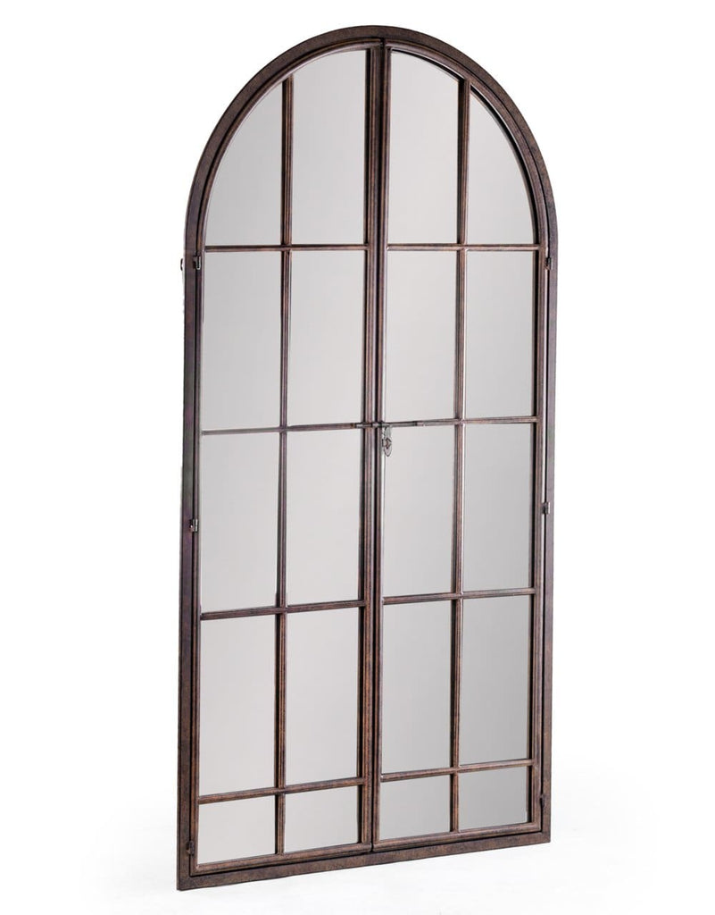 Antiqued Iron Large Arch Window Metal Mirror - Mirror