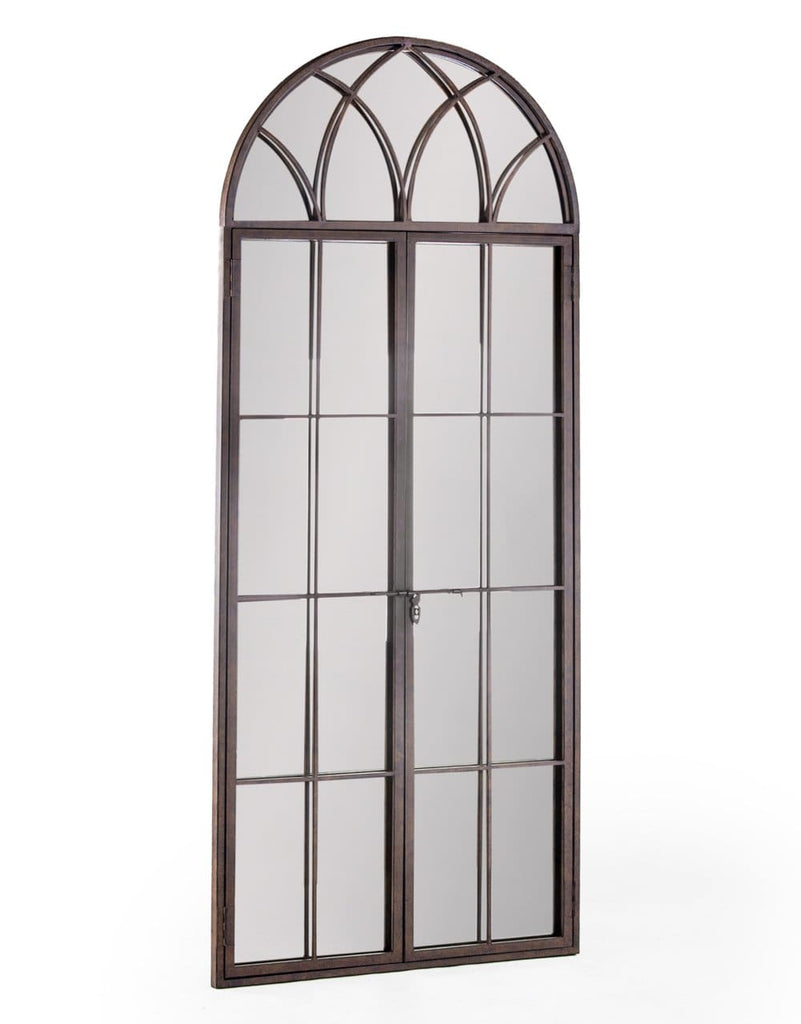 Antiqued Iron Tall Arch Window Metal Mirror - Mirror