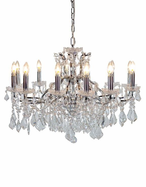 Arabella - Shallow 12 Branch Chrome Crystal Chandelier - Chandelier