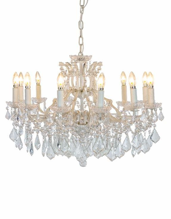 Arabella - Shallow 12 Branch Crystal Glass Chandelier - Chandelier