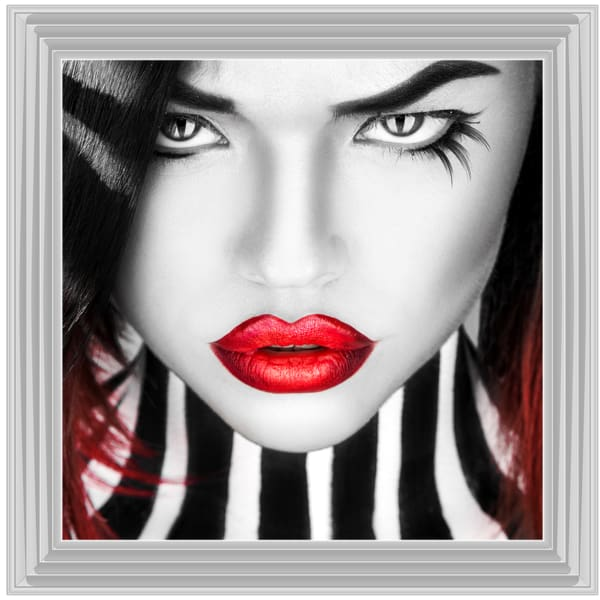 Beauty Eyelashes And Lips Art Framed Graphic Print - Wall Art