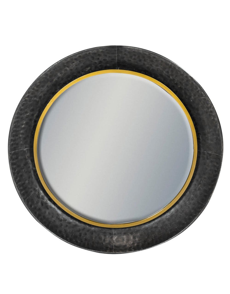 Black and Bronze Large Round Lincoln Wall Mirror - Mirror
