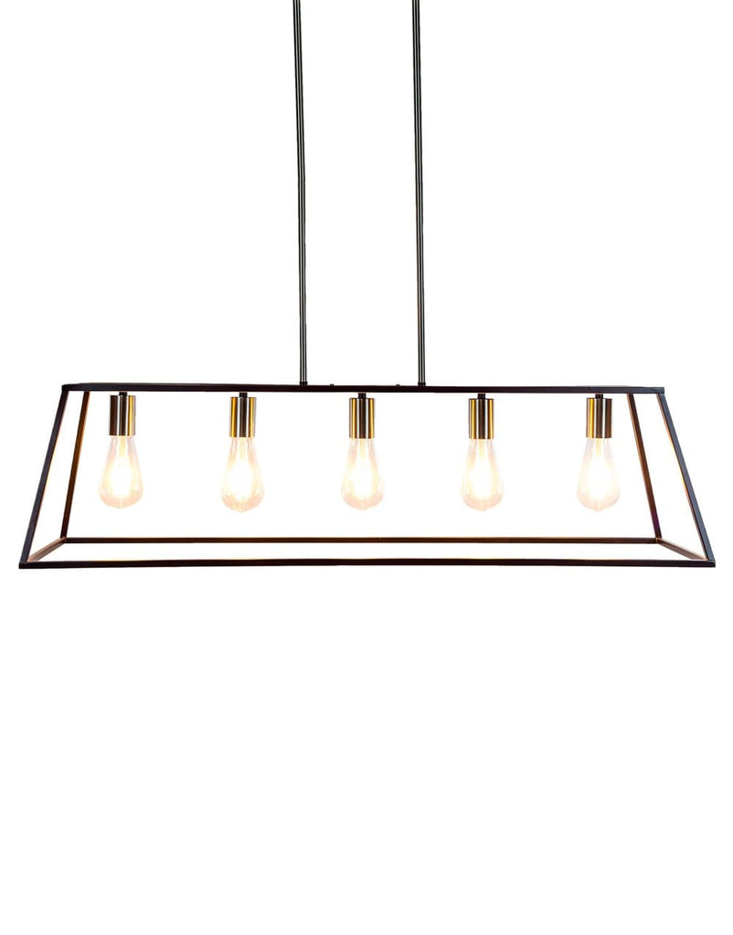 Black and Steel Industrial Frame Pendant - Pendant Light