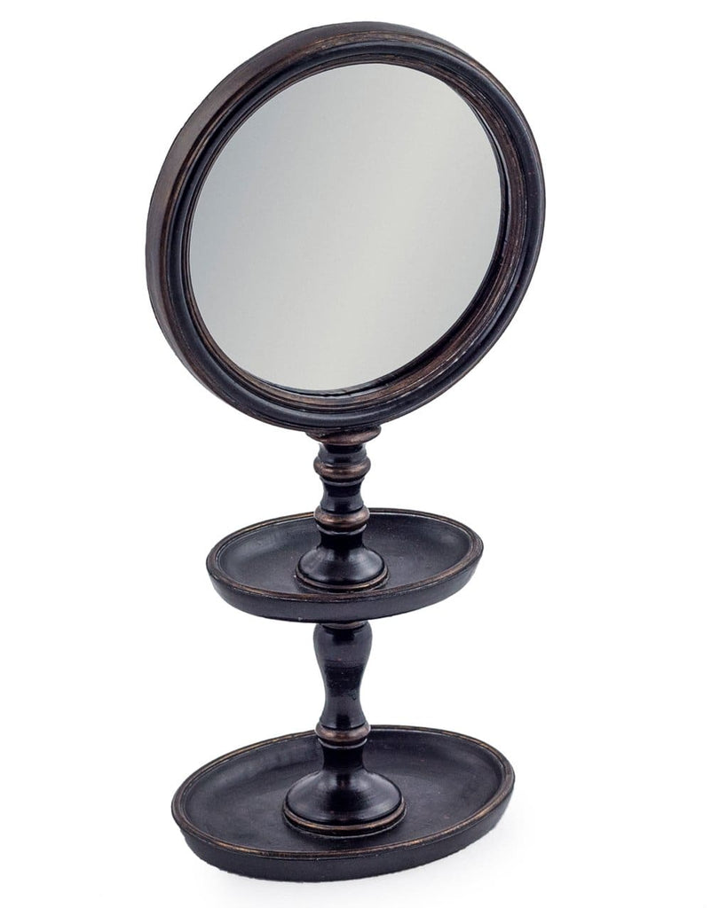 Black Framed Mirror on Tray Stand - Mirror