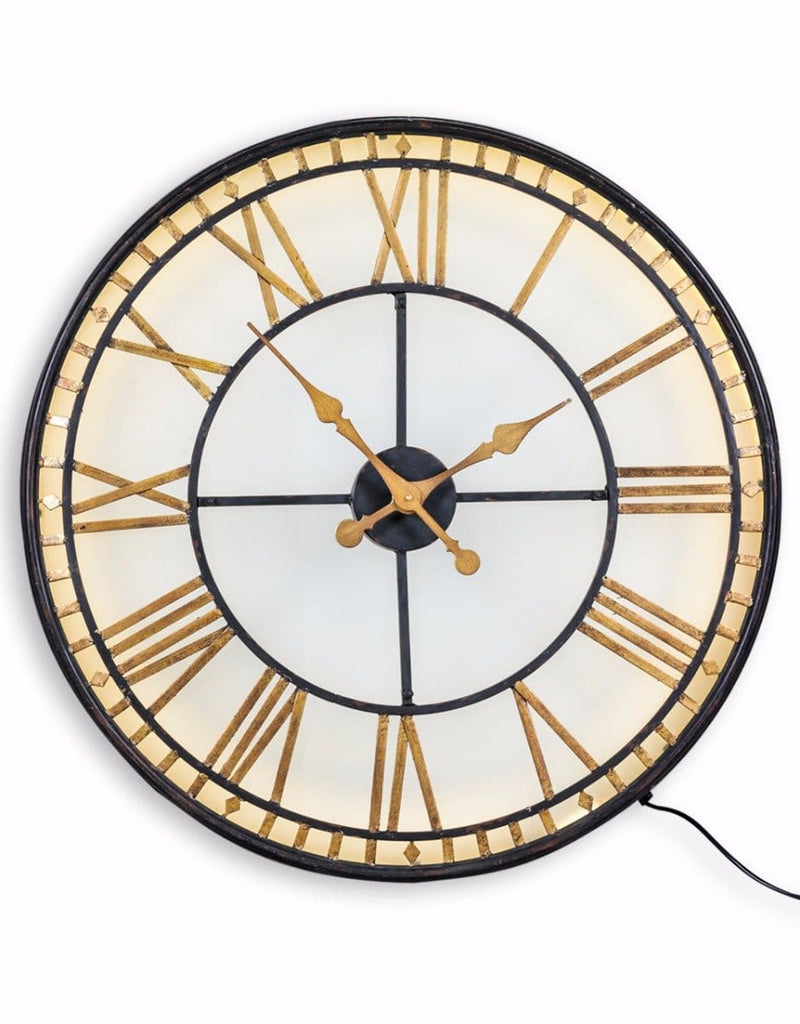 Black & Gold Back Lit Glass Wall Clock - Clock