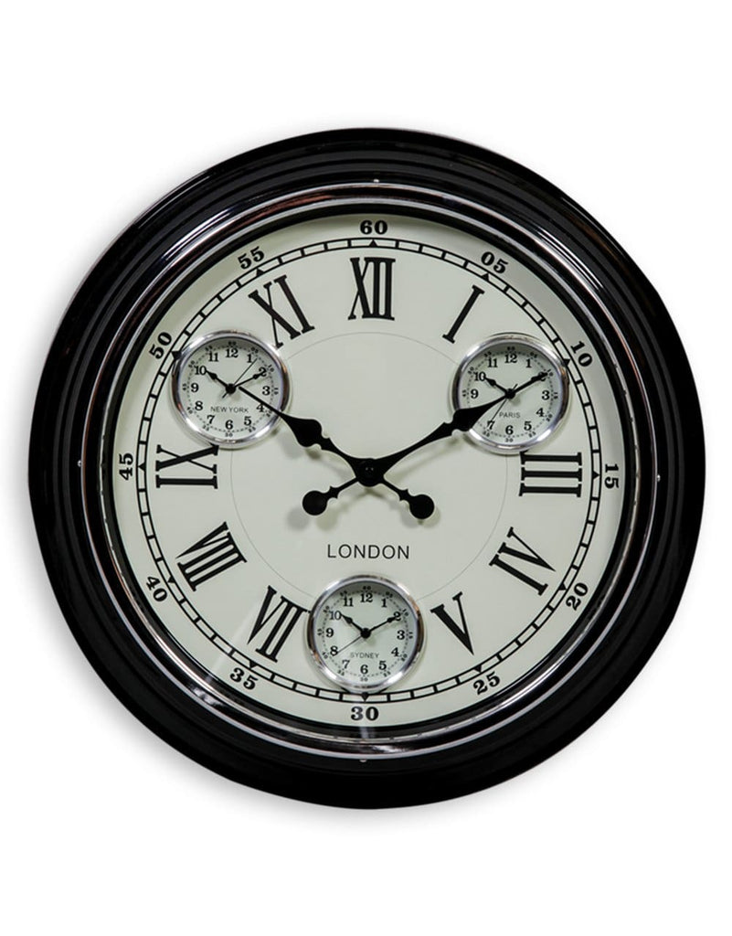 Black White Face London Multi Dial Wall Clock - Clock