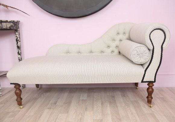 Black & White Striped Chaise Longue - Made to Order - Chaise Longue