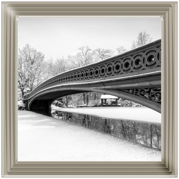 Bow Bridge Snowy Central Park New York Art Framed Graphic Print - Wall Art