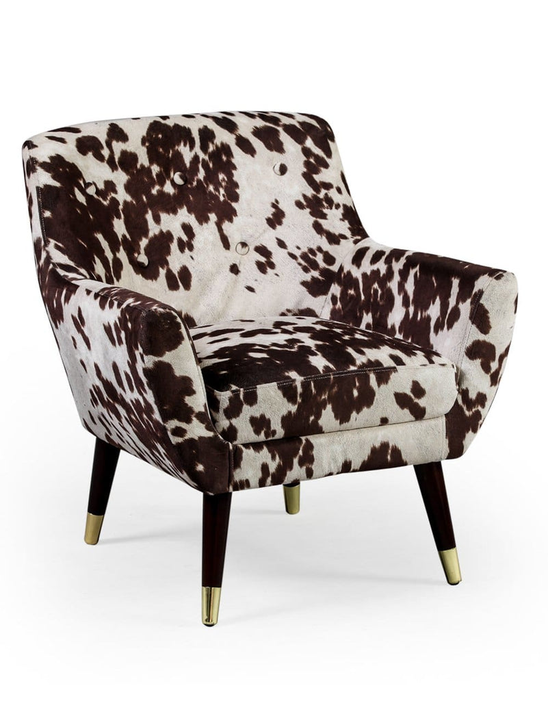 Brown Cowhide Style Fabric Retro Armchair - Armchair