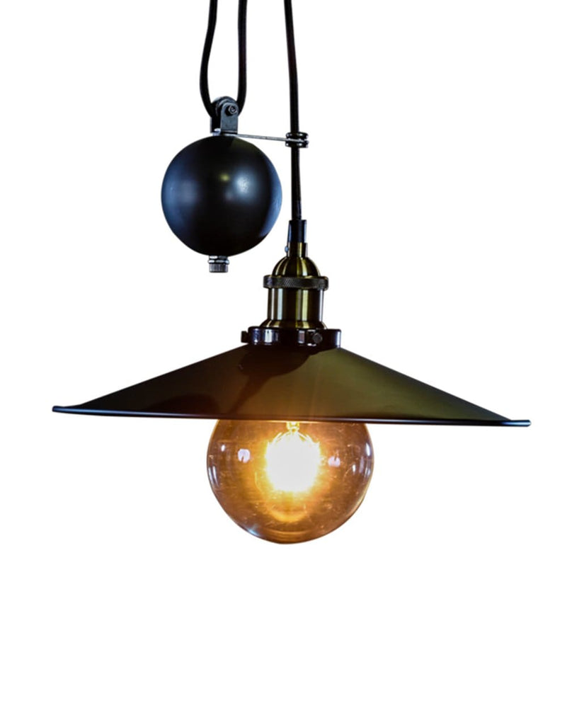 Charcoal and Gold Metal Rise and Fall Coolie Pendant - Pendant Light
