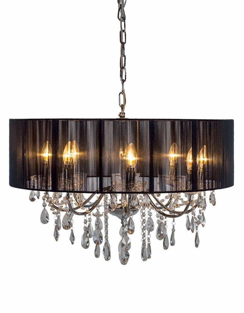 Chrome 8 Branch Chandelier With Black Shade - Chandelier
