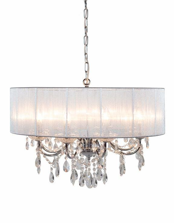 Chrome 8 Branch Chandelier With Silver Shade - Chandelier