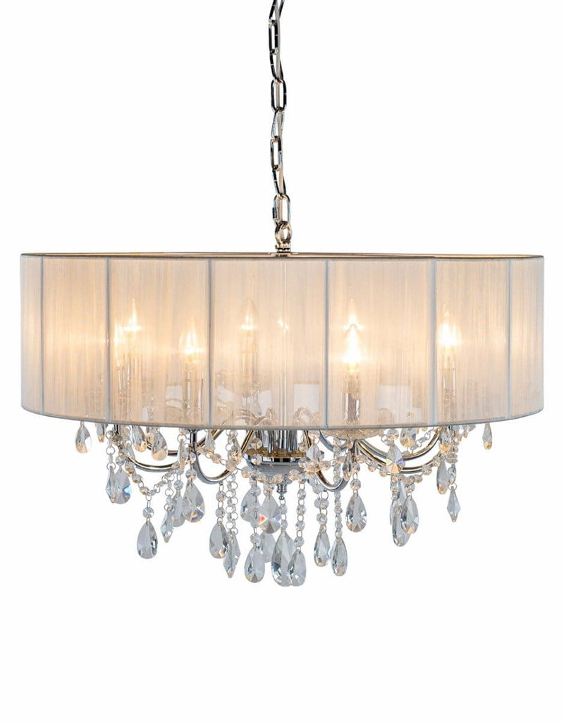 Chrome 8 Branch Chandelier With White Shade - Chandelier