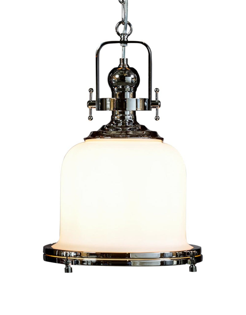 Chrome and Opaque Glass Industrial Ceiling Lantern - Pendant Light