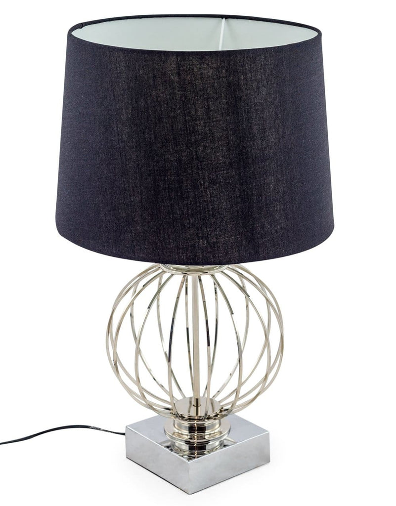 Chrome Cage Sphere Table Lamp with Black Shade - Table Lamp