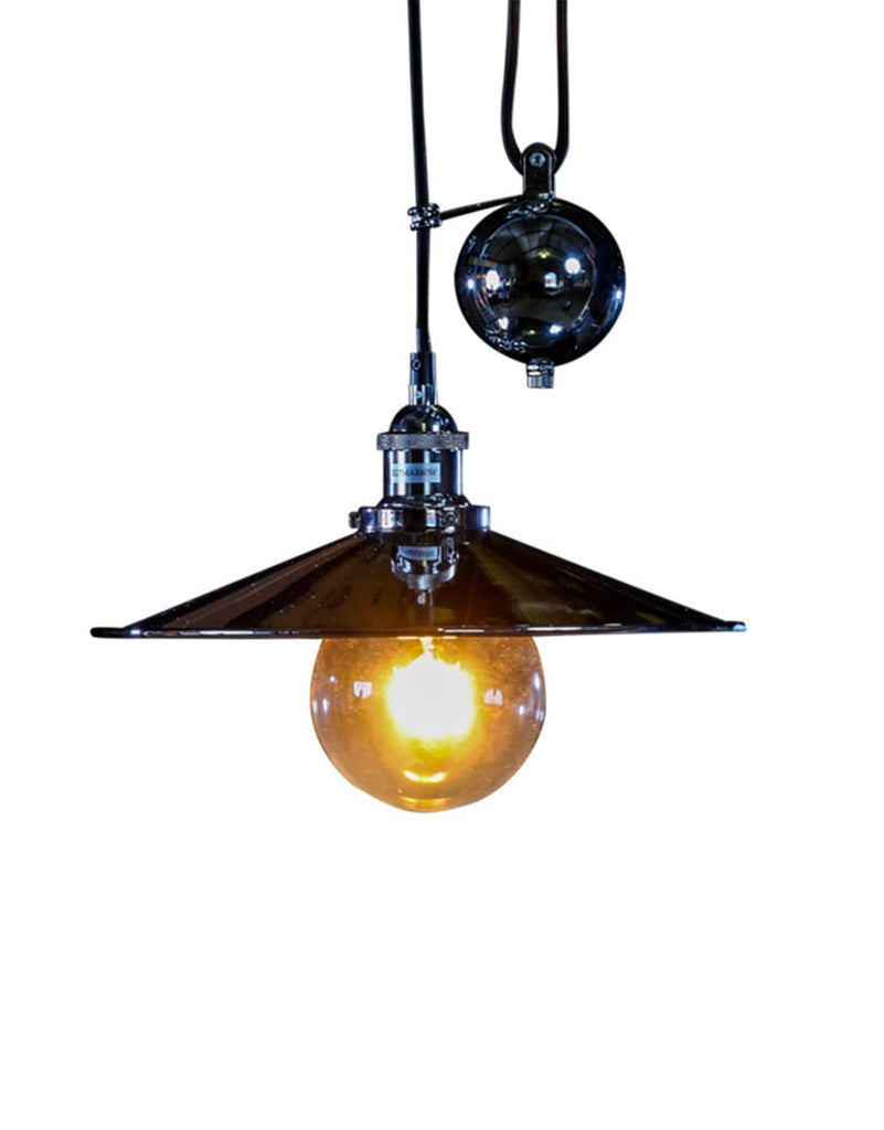 Chrome Metal Rise and Fall Coolie Pendant - Pendant Light