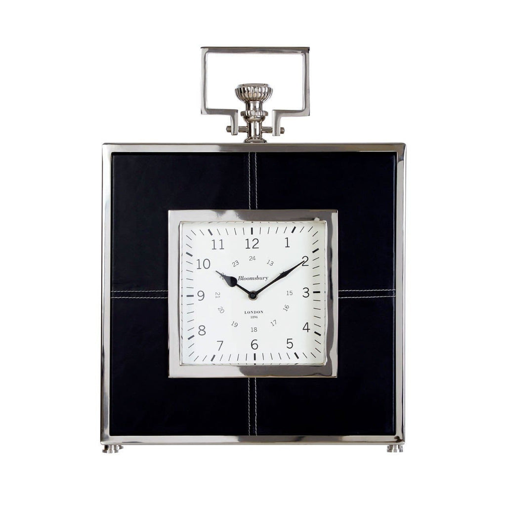 Churchill Black Leather Regal Mantel Clock - Clock
