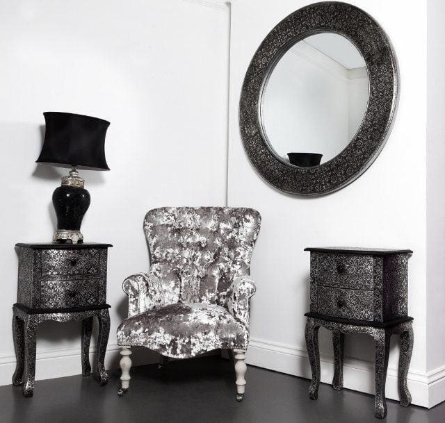 Deep Button Back Grey Crushed Velvet Small Armchair - Made to Order - Armchair