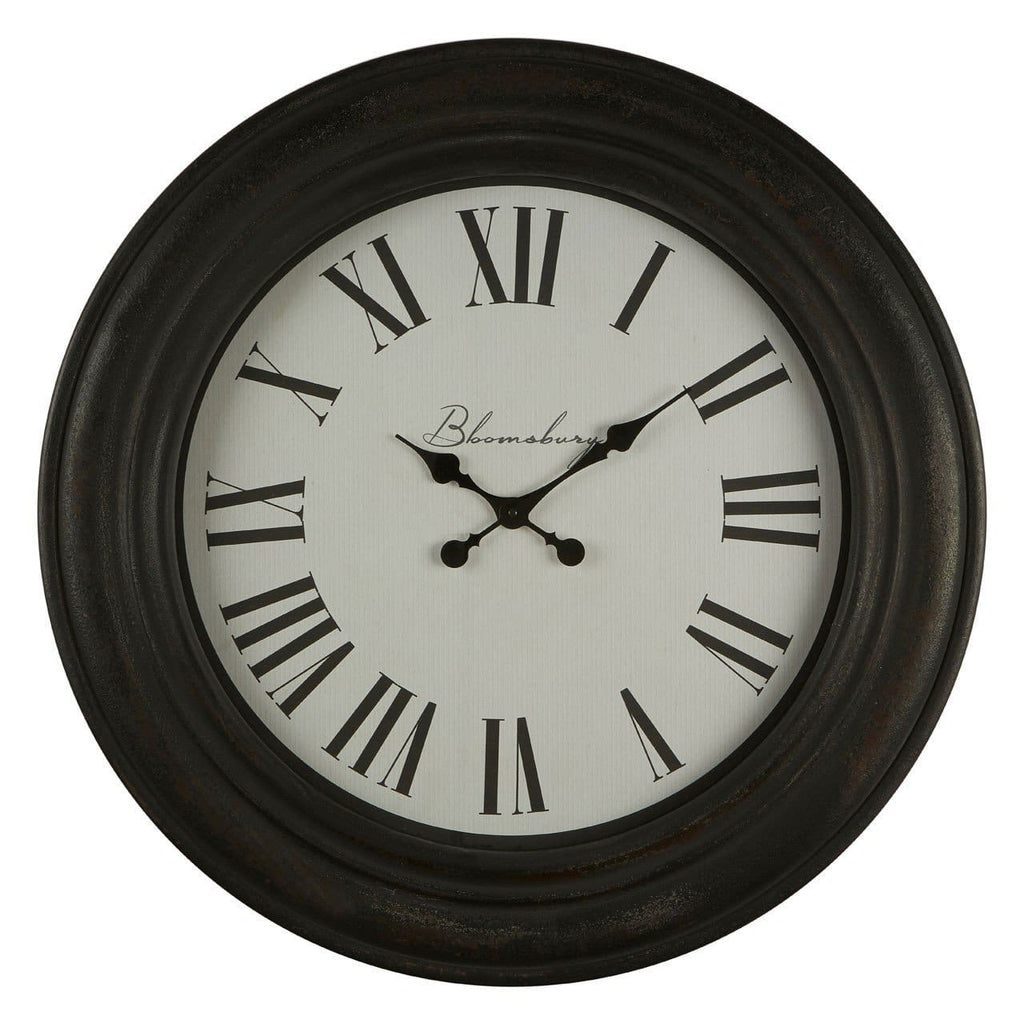 Distressed Black Wood Wall Clock - Clock