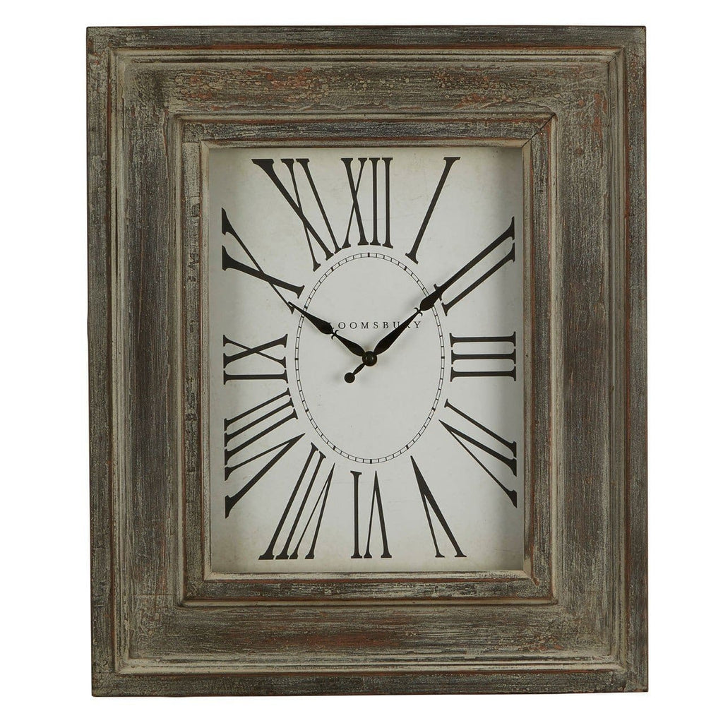 Distressed Grey Wood Wall Clock - Clock