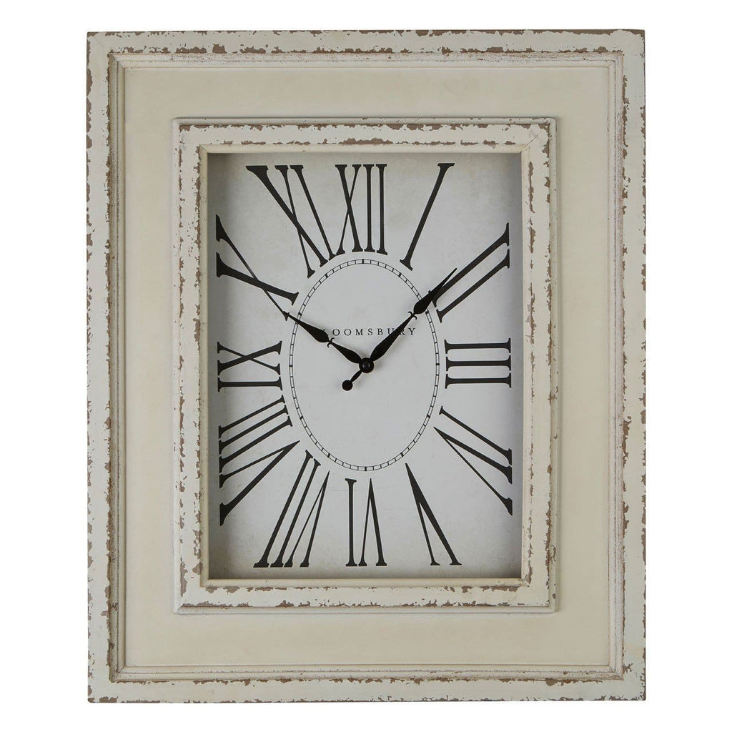 Distressed White Wood Wall Clock - Clock