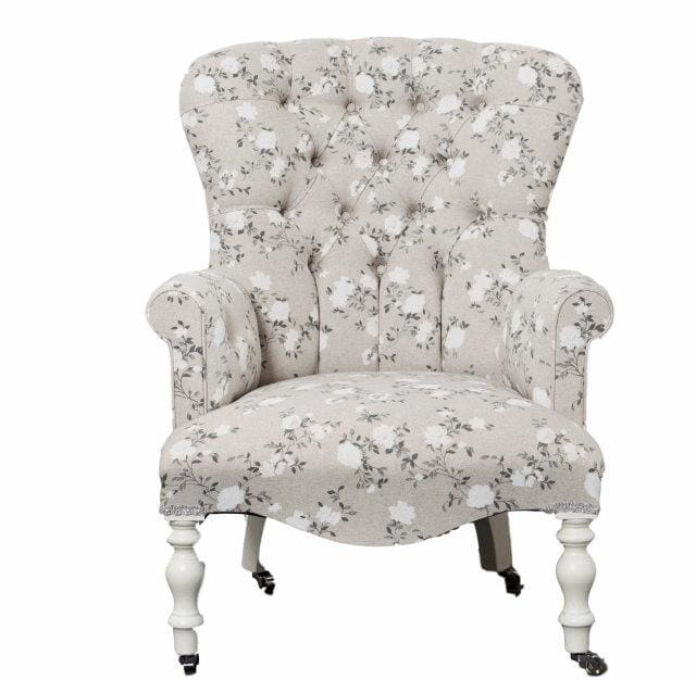 Floral Rose Button Back Armchair - Made to Order - Armchair