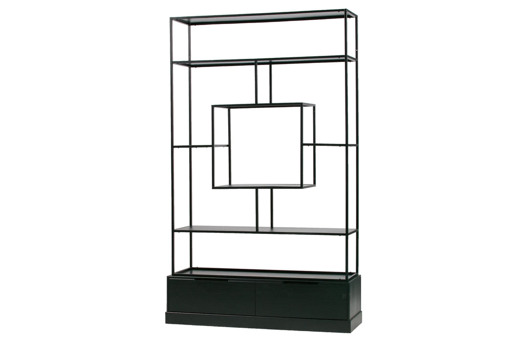 Fons Black Wood Metal Cabinet by Woood - Bookcase Shelf