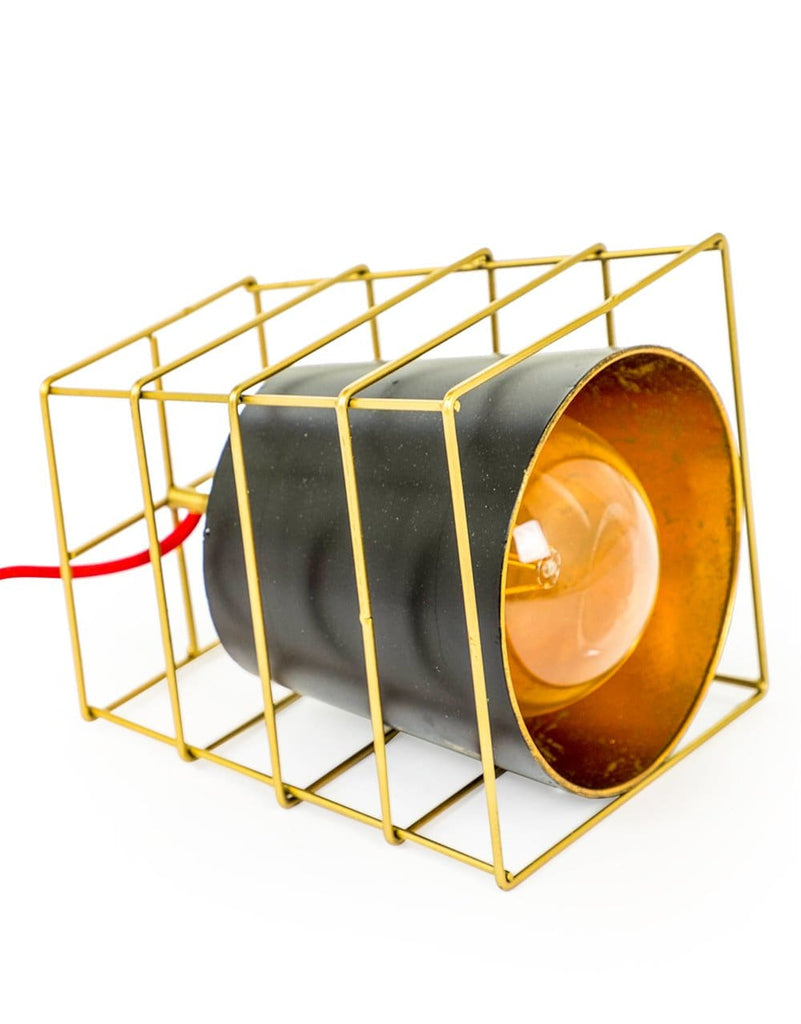 Gold Cage Large Industrial Table Lamp - Table Lamp