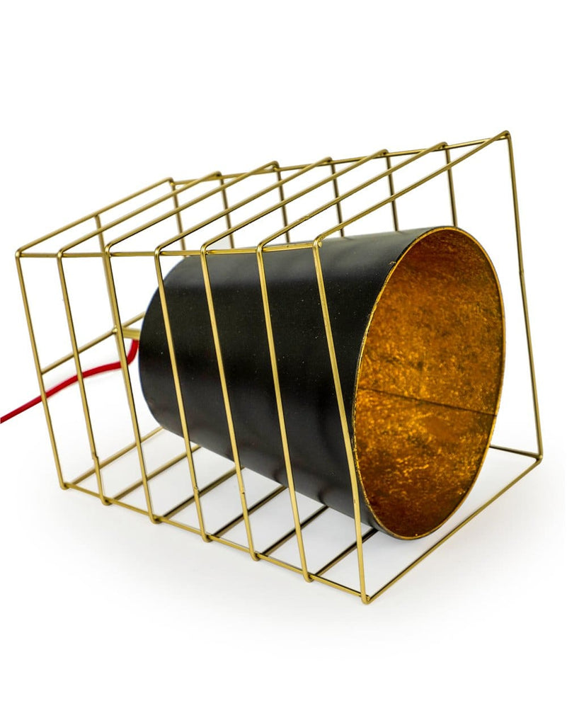 Gold Cage Small Industrial Table Lamp - Table Lamp