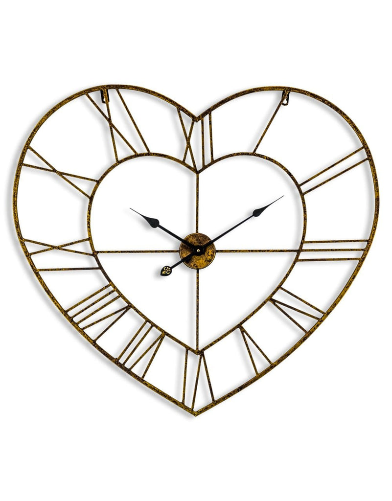 Gold Heart Shaped Skeleton Clock - Clock