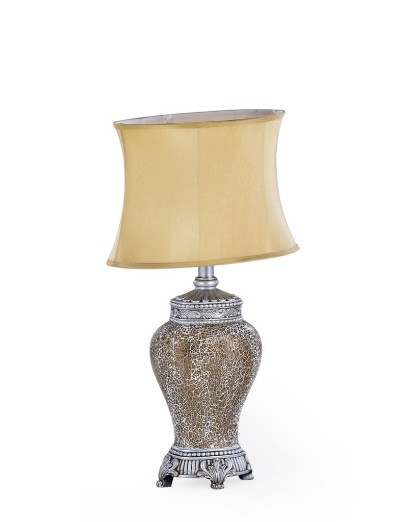Gold Mosaic Lamp with Gold Oval Shade - Table Lamp