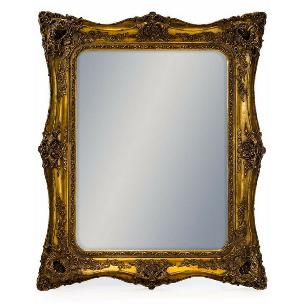 Gold Ornate Carved Rectangular Mirror - Mirror