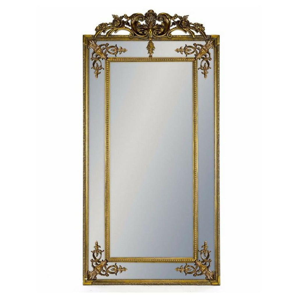 Gold Ornate Crested Leaner Full Length Mirror - Mirror