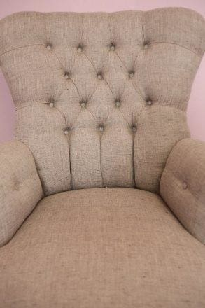 Grey Linen Button Back Armchair - Made to Order - Armchair