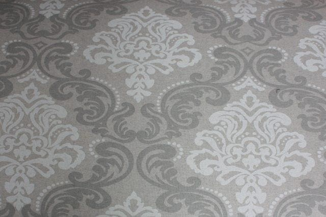 Grey & White Damask Fabric Small Sofa - Made to Order - Sofa