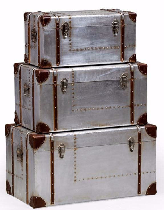 Industrial Silver Travel Set of 3 Trunks - Box Trunks