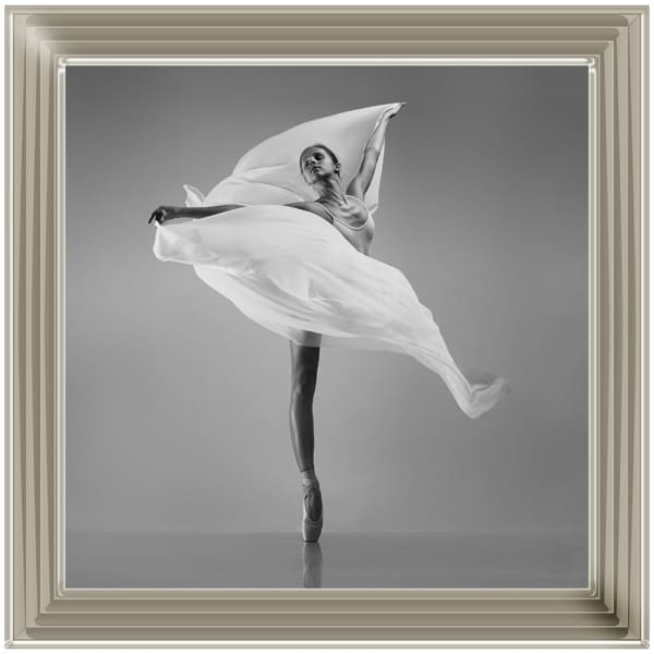 Lady Ballerina White Flying Cloth Art Framed Graphic Print - Wall Art