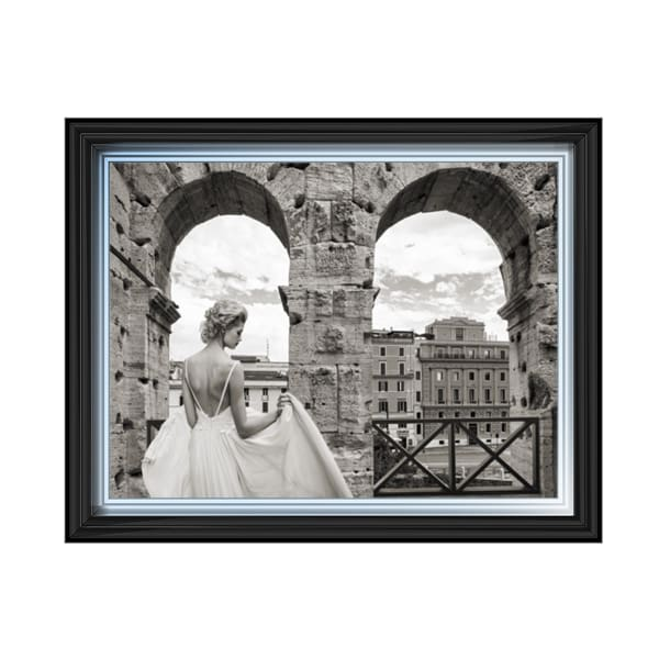 Lady Beauty Dress Colosseum Rome Art Framed Graphic Print - Wall Art