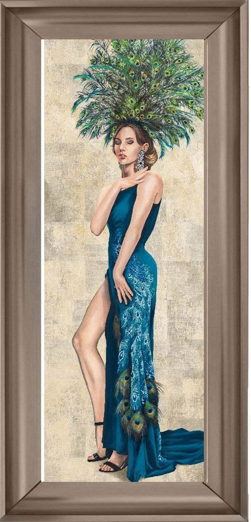 Lady Blue Peacock Dress Art Framed Graphic Print - Wall Art