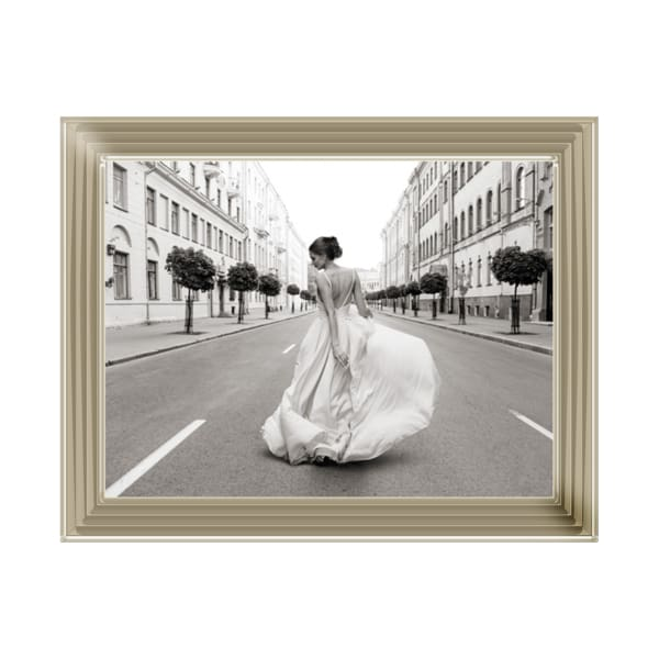 Lady Walking Down A Road Art Framed Graphic Print - Wall Art