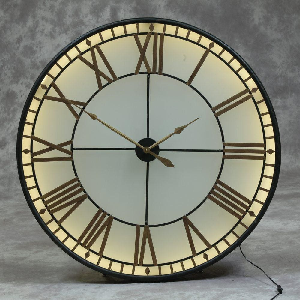 Large Black & Gold Back Lit Glass Wall Clock - Clock