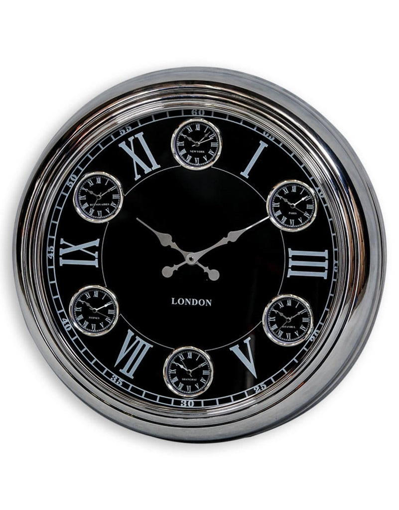 Large Chrome Black Face Multi 6 Dial Wall Clock - Clock