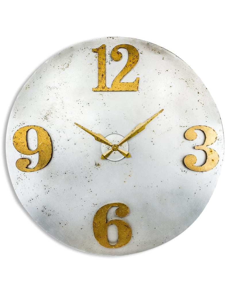 Large Gold Numerals Industrial Steel Clock - Clock