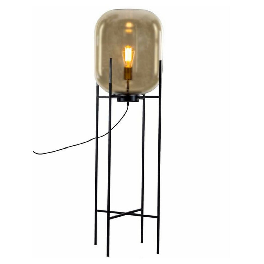 Large Retro Gold Glass Floor Lamp - Floor Lamp