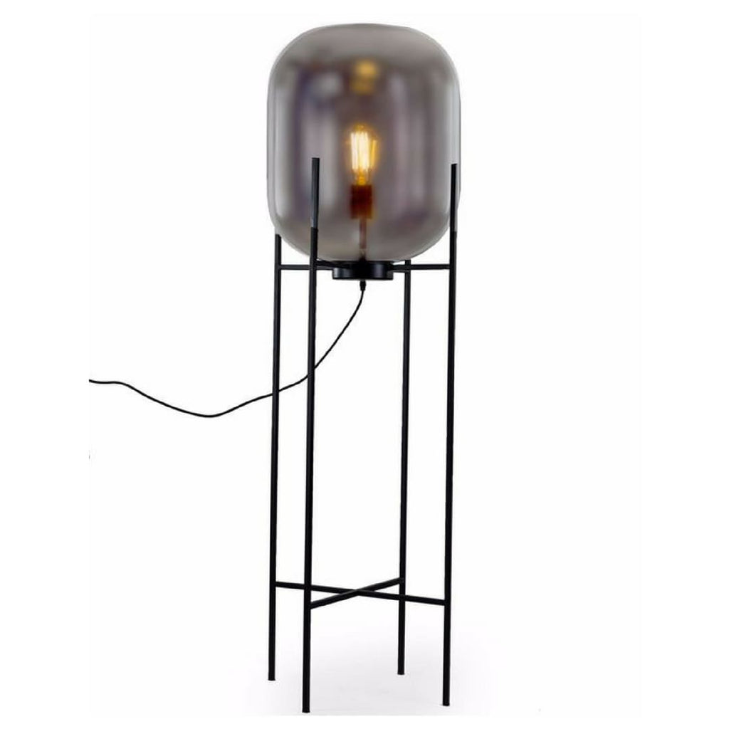 Large Retro Smoked Glass Floor Lamp - Floor Lamp