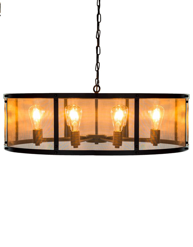 Large Round Black Iron Industrial Chandelier - Chandelier