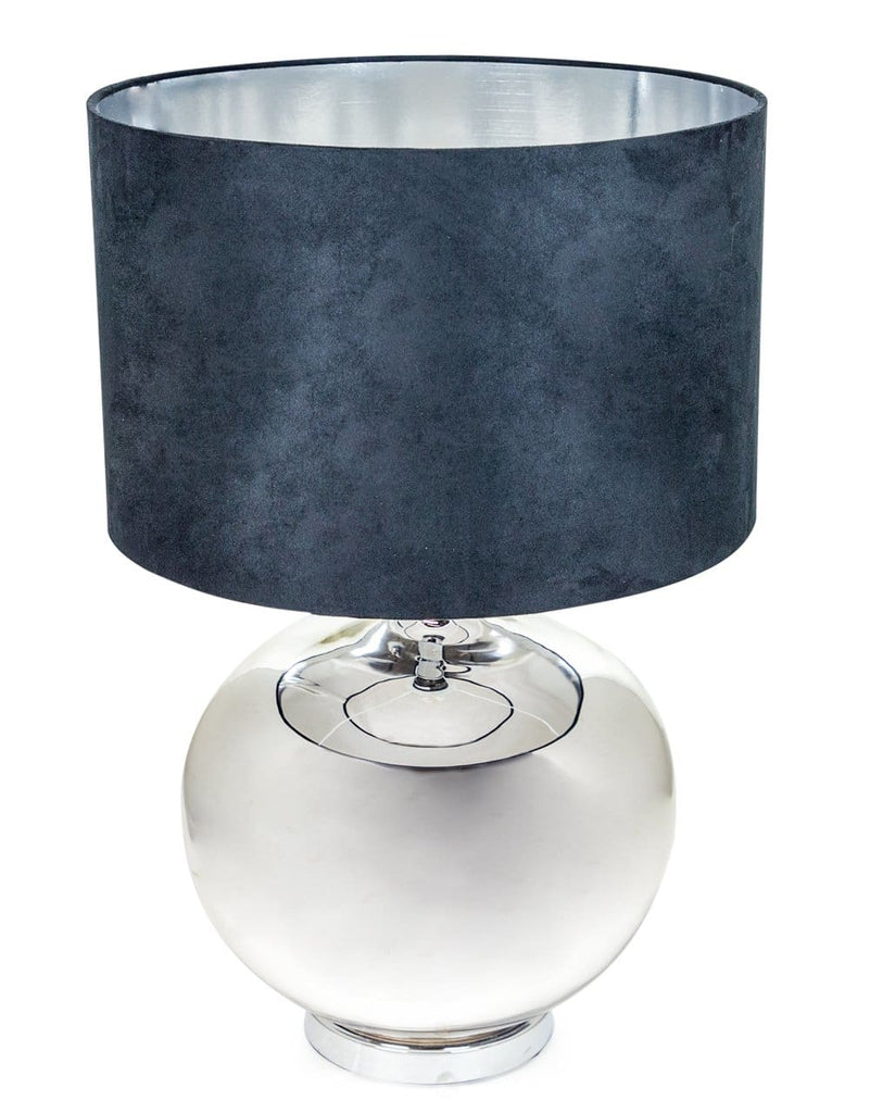 Large Silvered Round Lamp with Black Velvet Shade - Table Lamp