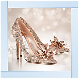 London Crystal Sparkling Toe Shoe Heels Art Framed Graphic Print - Wall Art