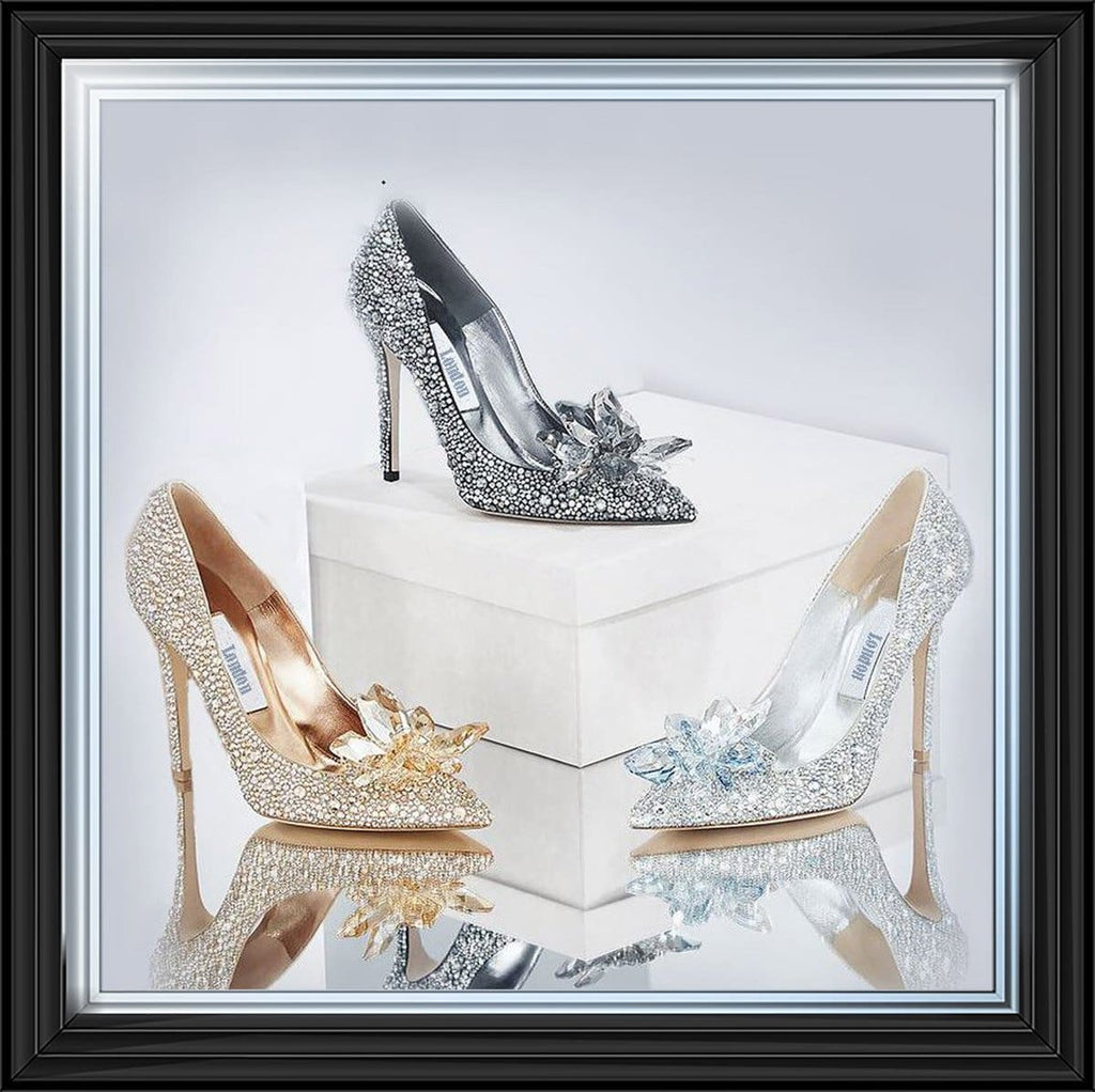 London Inspired Jewelled Shoes Glamour Art Framed Graphic Print - Wall Art